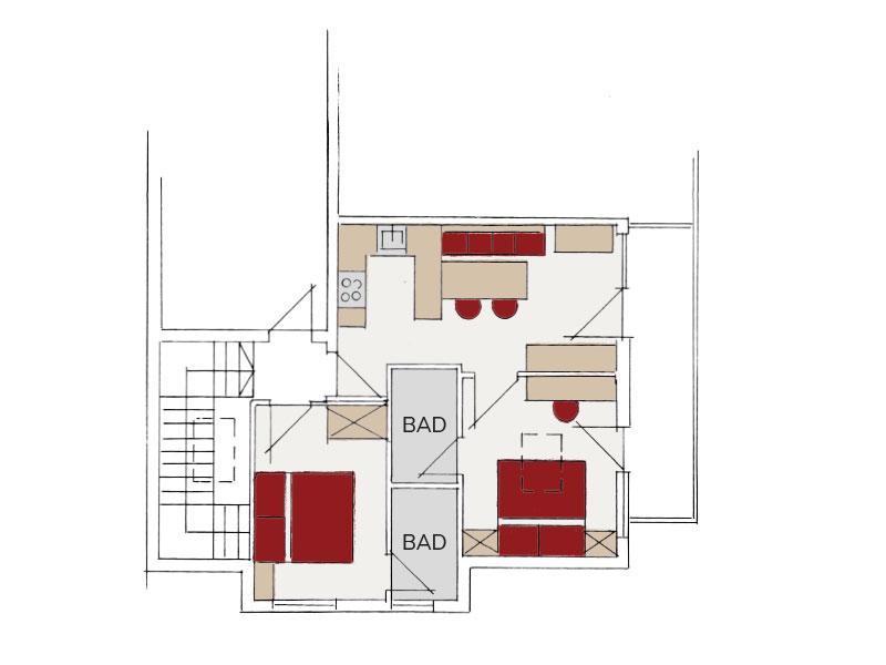 [Translate to en:] Skizze Appartement Ferienglück